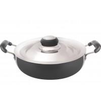 Eris 2.5 Liters Deep Frying Pan (Kadhai) with Steel Lid, Hard Anodized, EHDF395